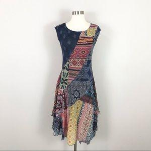 Desigual small Midi Dress Mixed Pattern Patchwork